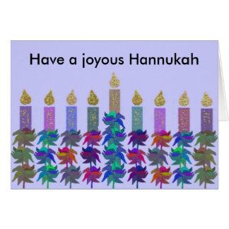 Tarjeta Tarjetas de Menorah de la flor de Hannukah