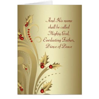 Tarjetas de Navidad cristianas del oro rojo