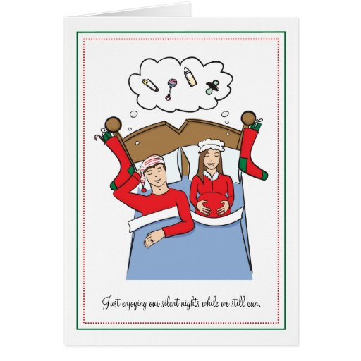 Tarjetas de Navidad del embarazo - noches