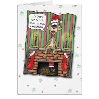Tarjetas de Navidad divertidas: Perro guardián de