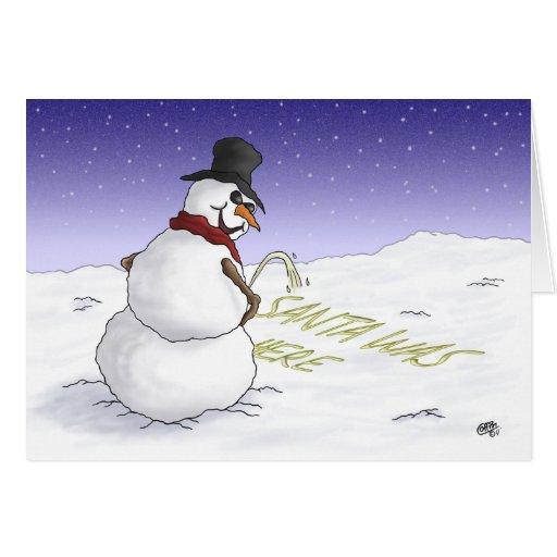 Tarjetas de Navidad divertidas: Santa estaba aquí