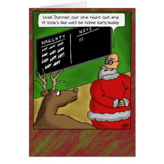 Tarjetas de Navidad divertidas: Travieso y Niza