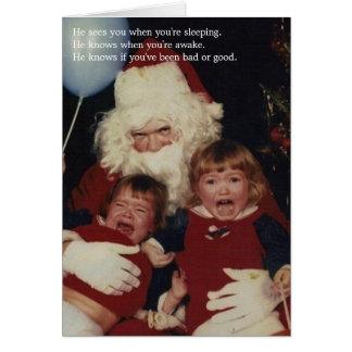 Tarjetas de Navidad espeluznantes de Santa