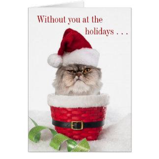 Tarjetas de Navidad irritables divertidas del gato