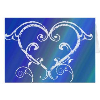 Tarjetas de nota azules del corazón