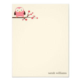 Tarjetas de nota de encargo del búho de la invitación 10,8 x 13,9 cm