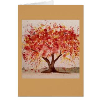 Tarjetas de nota del árbol del otoño