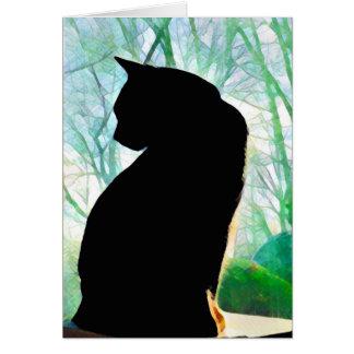 Tarjetas de nota del gato negro