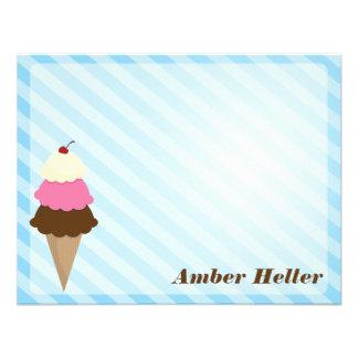 Tarjetas de nota del helado invitación personalizada