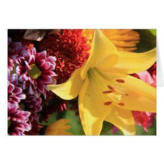 Tarjetas de nota florales, Amaryllis amarillo,