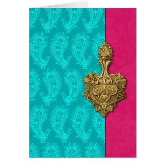 Tarjetas de nota indias de los pavos reales de