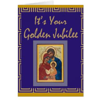 Tarjetas de oro del jubileo de la monja católica