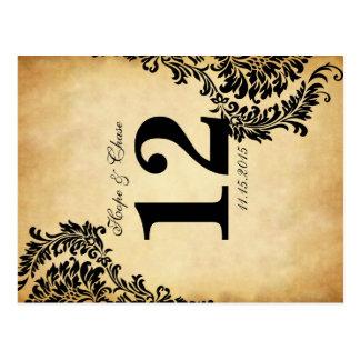 Tarjetas de oro del número de la tabla del damasco