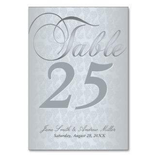 Tarjetas de plata del número de la tabla del