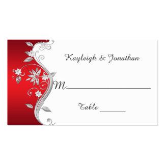 Tarjetas de plata rojas adornadas del lugar de las tarjeta personal