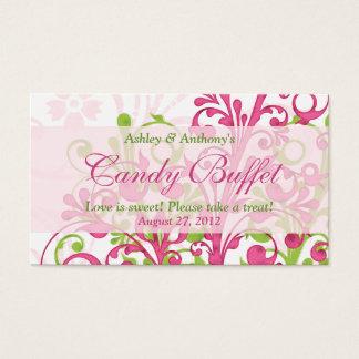 Tarjetas de regalo florales verdes rosadas de la