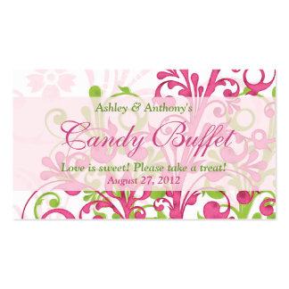 Tarjetas de regalo florales verdes rosadas de la tarjetas de visita