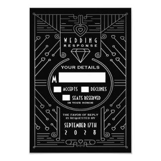 Tarjetas de RSVP de la bodas de plata negra y del Invitación 8,9 X 12,7 Cm