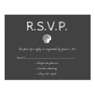 Tarjetas de RSVP de la cáscara del boda del