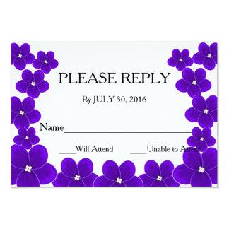 Tarjetas de RSVP de la violeta africana Invitación 8,9 X 12,7 Cm