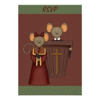 Tarjetas de RSVP de los ratones de iglesia del paí Anuncio