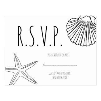 Tarjetas de RSVP del boda de playa de las