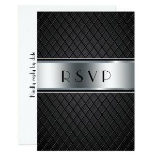 Tarjetas de RSVP del boda, negro y de plata Invitación 8,9 X 12,7 Cm
