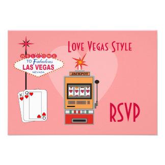 Tarjetas de RSVP del estilo de Vegas del amor Invitacion Personal