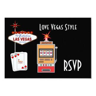 Tarjetas de RSVP del negro del estilo de Vegas del Invitación 8,9 X 12,7 Cm