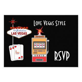 Tarjetas de RSVP del negro del estilo de Vegas del Comunicado Personal