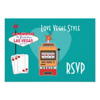 Tarjetas de RSVP del trullo del estilo de Vegas de Comunicado