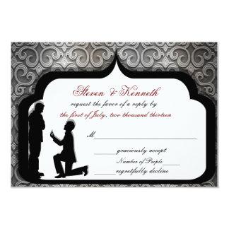 Tarjetas de RSVP gay del boda/de la ceremonia de Invitacion Personalizada