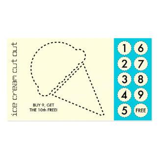 tarjetas de sacador cortadas del helado tarjetas de visita