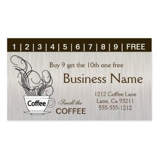 Tarjetas de sacador del café ambos lados tarjetas de visita