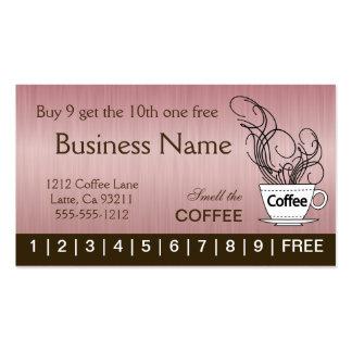 Tarjetas de sacador rosadas del café en ambos tarjetas de visita