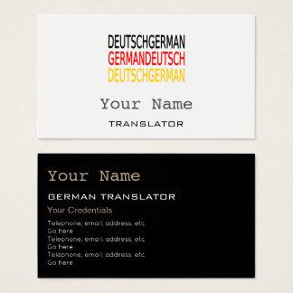 Tarjetas de visita alemanas del traductor o del