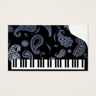 Tarjetas de visita azules del piano de Paisley