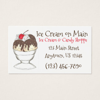 Tarjetas de visita calientes del Shoppe del helado