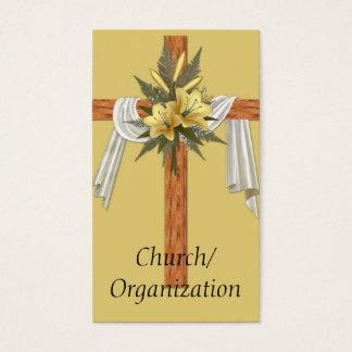 Tarjetas de visita cruzadas cristianas de madera