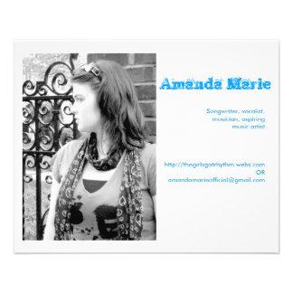 Tarjetas de visita de Amanda Marie Folleto 11,4 X 14,2 Cm