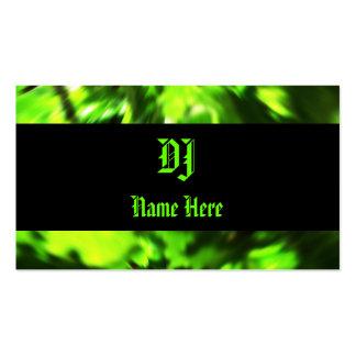 Tarjetas de visita de DJ en verde y negro