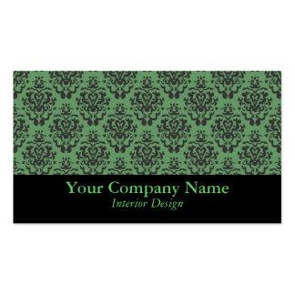 Tarjetas de visita de encargo del damasco verde el