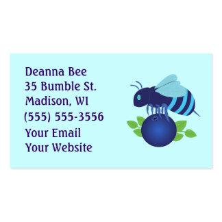 Tarjetas de visita de la abeja del arándano