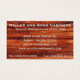 Tarjetas de visita de la carpintería de la