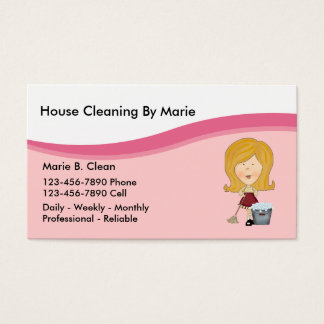 Tarjetas de visita de la limpieza de la casa