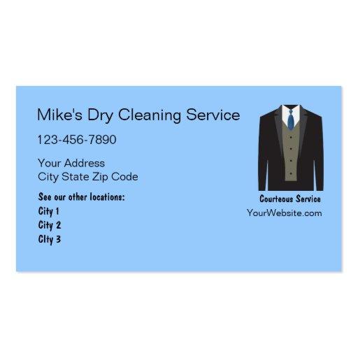 Tarjetas de visita de la limpieza en seco