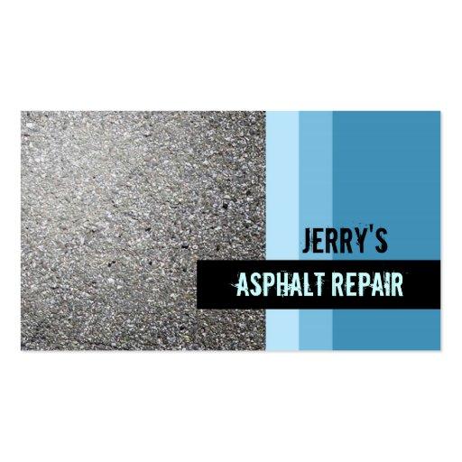 Tarjetas de visita de la reparación del asfalto