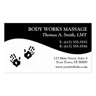 Tarjetas de visita de la terapia del masaje