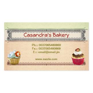 tarjetas de visita de la tienda de la panadería de