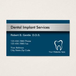 Tarjetas de visita de los implantes dentales